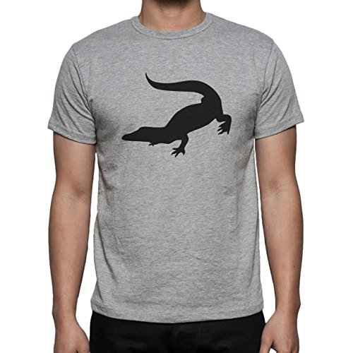 Crocodile Green Reptile Dino Shadow Black Herren T-Shirt Grau