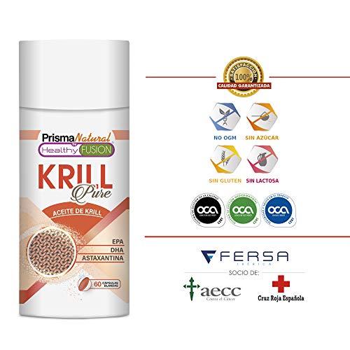 REINES KRILLÖL + EPA + DHA + ASTAXANTHIN - Verbessert und kontrolliert das Cholesterin und Triglyceride - Bekämpft oxidativen Stress - Vorteile für die Haut, Sehkraft und Zellgesundheit - 60 Perlen