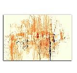 120x80cm Abstrakt007_Wandbild Abstrakte Kunst vanille orange rot schwarz Kunstdruck auf Leinwand zeitloses Wohnambiente TOP moderne Wandgestaltung