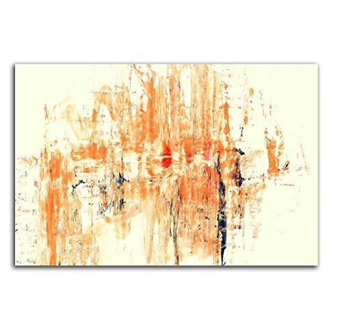 120x80cm Abstrakt007_Wandbild Abstrakte Kunst vanille orange rot schwarz Kunstdruck auf Leinwand zeitloses Wohnambiente TOP moderne Wandgestaltung (Abstrakte Kunst Rot)