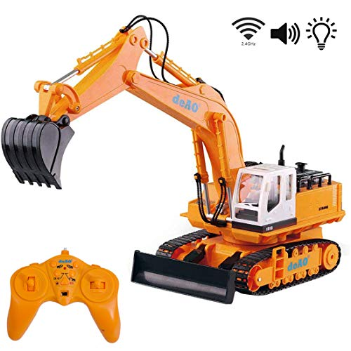deAO Excavator Toy, with Remote Control of 6 Channels, with Lights and Sounds