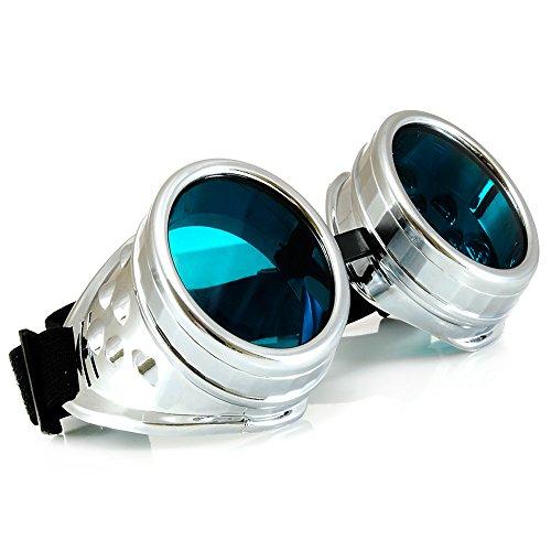 WELDING CYBER GOGGLES Schutzbrille Schweißen Goth Cosplay STEAMPUNK ANTIQUE VICTORIAN MFAZ Morefaz Ltd (Silver)