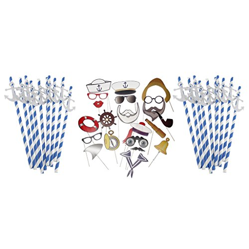 amleso 20x Papierstrohhalme Trinkhalme Strohhalme Und Party Photo Booth Props Set