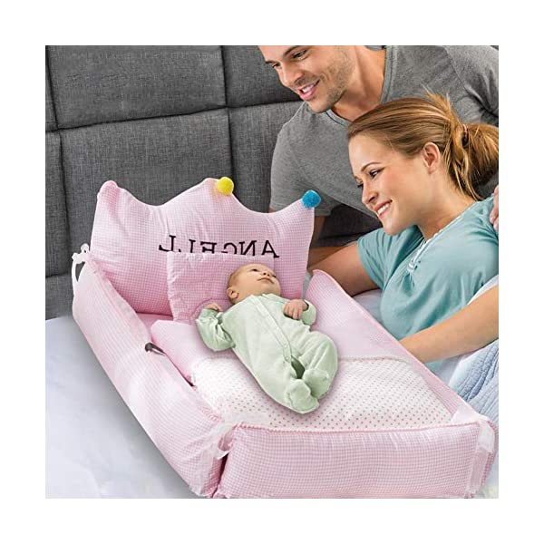 YUELAI Baby Nest Bed Portable Washable And Removable Baby Sleep Nest For Newborn And Babies, Multifunction Breathable Baby Sleep Bag Comfortable + Pillow + Quilt Pack (0-24 Months) gray YUELAI 【Material】The place where the baby can touch is 100% cotton. Soft, breathable and delicate fabric to protect your baby's sensitive skin, allowing your baby to fall asleep faster 【Dimensions】88cm x 56cm x20cm (34.6 inch x 22 inch x 7.8 inch ), suitable for newborns of 0-1 years, the comfortable space makes the baby not feel crowded 【Portable】A folding sleeping basket saves space. It is very light and suitable for outdoor use, and it can also free your hands.Lets you easily observe the baby, increase the baby and your sleep quality 7