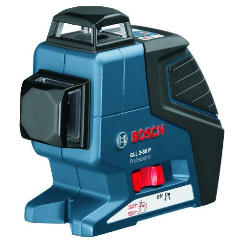 Bosch GLL 2-80 P Professional Linienlaser im Transportkoffer mit 1 x 9 V-6LR61 (Block) Batterie, Laser-Empfänger LR 2 Prof. und Universalhalterung BM 1 Prof.