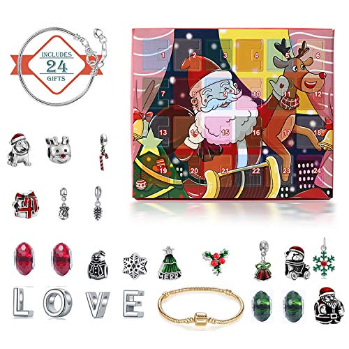 Busaky DIY Charm Bracelet Jewelry Advent Calendar Countdown to Set Santa Claus Elk Box for Children Adults 2 Chains 22 Beads 24 Days