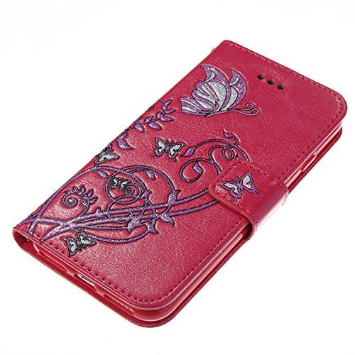Color Printing Embossing Blumen Muster PU Leder Brieftasche Case Cover Tasche [Magnetverschluss] mit Card Slots & Lanyard & Halter & Kickstand Für iPhone 7 ( Color : Black ) Rose