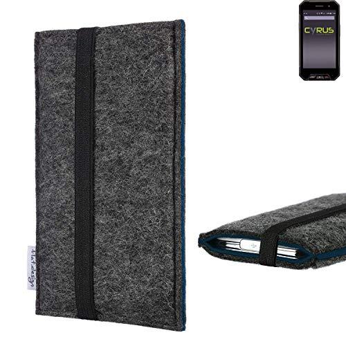 flat.design Handyhülle Lagoa für Cyrus CS 27   Farbe: anthrazit/blau   Smartphone-Tasche aus Filz   Handy Schutzhülle  Handytasche Made in Germany