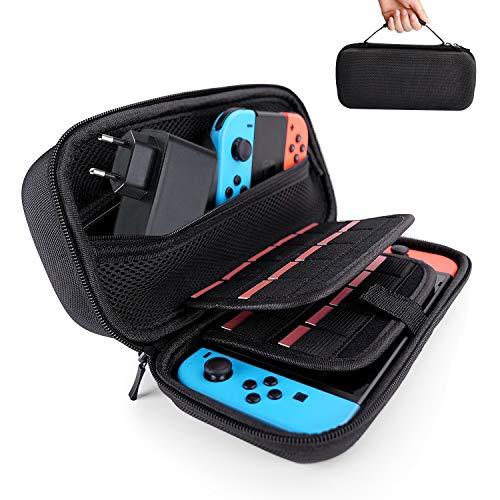 Hestia Goods Nintendo Switch Tasche - Harte Tragetasche auf die Reise für Nintendo Switch, Große Aufbewahrung von 20 Spiele, Lade-Adapter, Konsole & Zubehör -