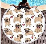 Vanzelu Hipster Mops Quaste Tapisserie Cartoon 150x150cm Mikrofaser Runde Strandtücher Tier Hund Bikini Handtuch Sunblock Decken Matten Picknick Matte Outdoor