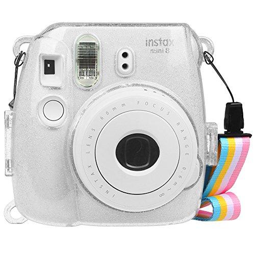 Fintie Tasche für Fujifilm Instax Mini 9 Mini 8 Mini 8+ Sofortbildkamera - Ultradünne PVC Hartschale Schutzhülle Reise Kameratasche Hülle Abdeckung mit Regenbogen abnehmbaren Riemen, SchimmerndTransparent