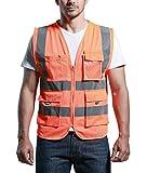 Atmungsaktives Netz Hohe Sichtbarkeit Warnweste Reflektierende Weste mit Taschen -