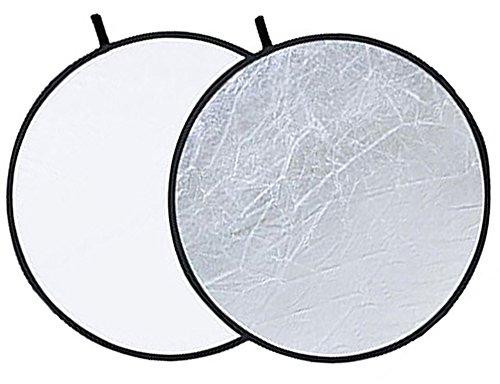 Phot-R P-SW56 56 cm (22 Zoll) Pro 2-in-1 Klapp-Professional Photography Mobile Fotostudio Circular Licht-Reflektor Panels Silber/weiß Diffuser mit Tragetasche schwarz