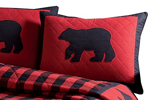Check-standard Pillow Sham (Park Designs Buffalo Check Collection Standard Kissen Sham, Applikation Bär)