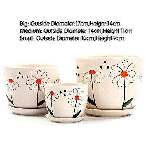 Nclon Dekorative Design Keramikplatten Pflanze Blume Pflanzer Töpfe,Blick Gute Innenseite Ihre...