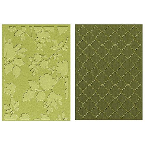 Sizzix RAYHER 57810000 Textured Impressions Embossing Folder, Rose Vines und Trellis, 2 Stück, Plastik, grau, 21.5 x 12.8 x 3.5 cm
