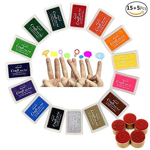 JUSLIN 15 Farben Crafts Stempelkissen für Gummi Stempel DIY Scrapbooking und Karte machen Dekoration, mit 5 Holz Stempel als Geschenk (Machen Farbe Mischen Karte)