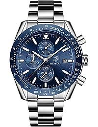 BENYAR Mens Relojes Cronógrafo Analógico Cuarzo Reloj Hombres Impermeable Deporte Reloj Pulsera de Acero Inoxidable Azul