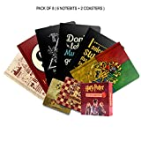 #7: MC SID RAZZ Official Harry Potter Birthday Gift Set/Rakhi Gift Set Combo Pack of 8 (6 Binded Notebook + 2 Coaster Licensed By Warner Bros, USA