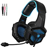 SADES SA807 3.5mm Cuffie Gaming con Microfono Controllo del Volume,Gaming Headset er New Xbox uno/PS4/PC/Laptop/Mac/iPad/iPod (Nero/Blu)
