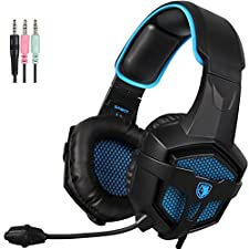 SADES SA807 3.5mm Cuffie Gaming con Microfono Controllo del Volume,Gaming Headset er New Xbox uno / PS4 / PC / Laptop / Mac / iPad / iPod (Nero / Blu)