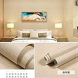 Selbstklebende Tapete einfaches Schlafzimmer Wohnzimmer Tapete TV Hintergrund Wand BZ Leinen gelb