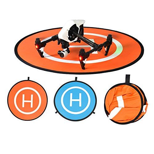 Drone Landing Pad, BELLESTYLE 75cm Impermeable y Plegable Helipuerto Protector Pista de Aterrizaje para Helicóptero RC Drones, PVB Drones, DJI Mavic Pro Phantom 2/3/4/Pro, Antel Robotic, 3DR Solo y más - Azul y Naranja