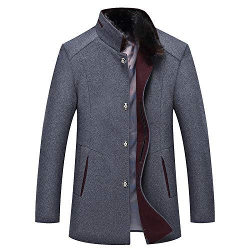 Hope Winter Warm Gefüttert Männer Mantel Mit Pelzkragen Business Casual Jacke Mantel Parka Outwear Trenchcoats PEA Coat,Grey-XL