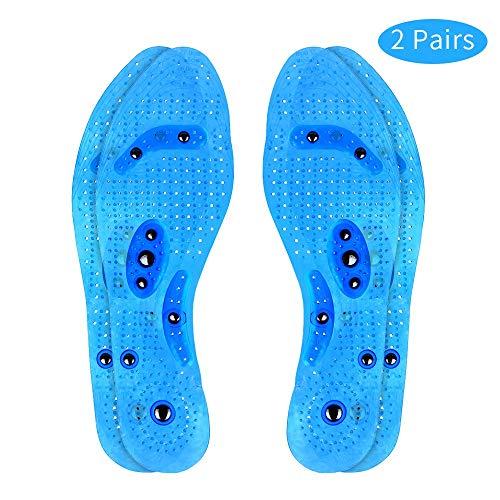 Magnetische Einlegesohlen, WODETREE 2 Paar Euphoric Feet Akupressur Einlegesohlen Orthopädische Einlegesohlen, Breathable Fuß Massageeffekt Einlagen für Männer & Frauen Blau (29cm)-MEHRWEG