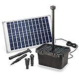 Solar Teichfilter Komplettset Professional - 1250 l/h Förderleistung + 25 W Solarmodul - Komplettset für Gartenteiche bis 4.000l - dekoratives Wasserspiel - Teichpumpe...