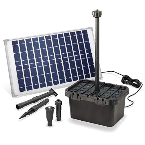 Solar Teichfilter Komplettset Professional - 1250 l/h Förderleistung + 25 W Solarmodul - Komplettset für Gartenteiche bis 4.000l - dekoratives Wasserspiel - Teichpumpe Solarpumpe esotec 100902