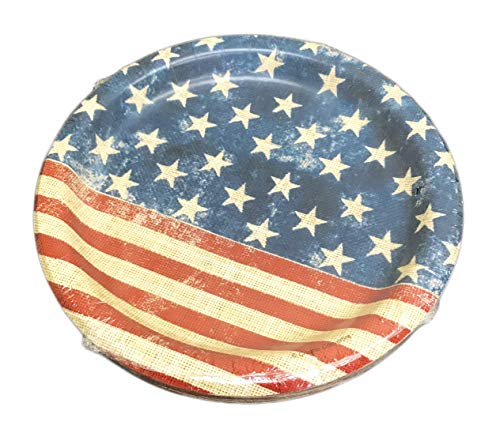 Pappteller, rustikal, Patriotisch, Rot/Weiß/Blau, 20 Stück 7