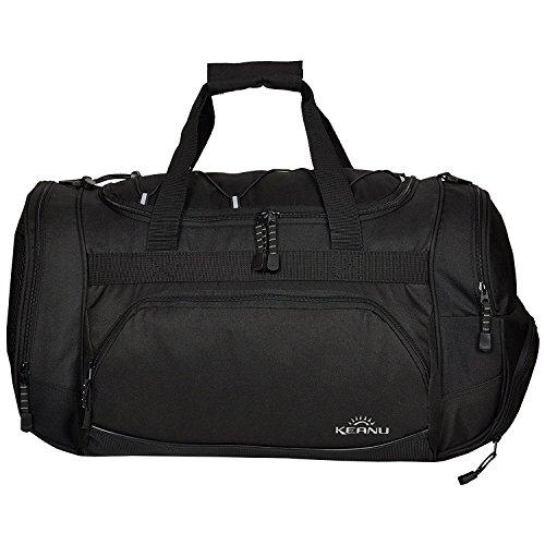 e Sporttasche (50 x 29 x 28 cm Fitness Yoga Sauna mit XL Getränkenetz :: Grosse multifunktionale Tasche für Gym Sport Sauna Reise Wellness :: Reisetasche (Schwarz) ()