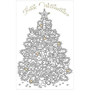 Frohe Weihnachten Schriftzug Zum Ausmalen.Susy Card 40014029 Weihnachts Grußkarte 17 X 11 X 0 1 Cm Zum Ausmalen 1 Stück In Folie Motiv Weihnachtsbaum