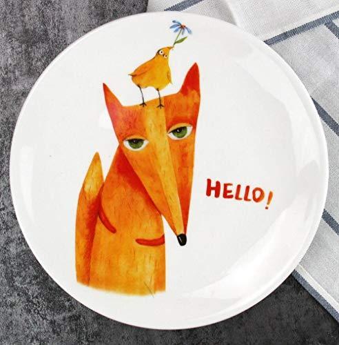 etti Dish schöne Tier Fox Elk Dog Brot Teller Beste Festival Geschenk für Kinder Kinder Liebhaber ()