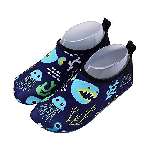 Xueliee Kleinkinder-Schuhe für Kinder Schwimmen Wasser Schuhe für Jungen, Mädchen, barfuß Aqua Schuhe Strand Schwimmen, Jellyfish shark 34-35