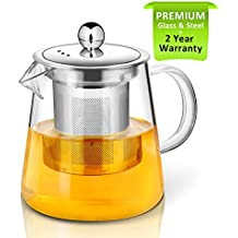 Tetera, 400 ml Tetera de cristal con infusor Por ackmond, microondas y hornillo, seguro, colador de té para té y té, perfecto para una