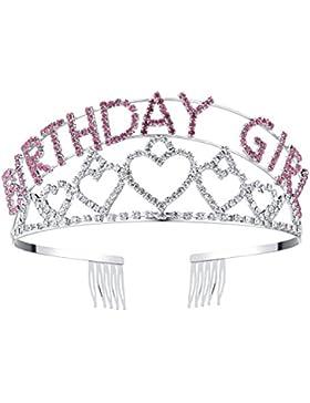 BABEYOND Crystal Rhinestone cumpleaños Tiara Headband Feliz cumpleaños Chica corona peine Pin