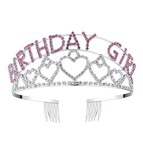 BABEYOND Geburtstagskrone Damen Mädchen Geburtstagstiara Rosa Kristall Diadem Prinzessin Geburtstag Tiara mit Kamm Damen Geburtstag Accessoires Birthday Girl Crown