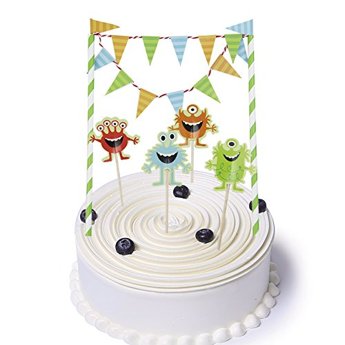 SUNBEAUTY 5er Set Kuchendekoration Cake Topper Kuchenwimpel Girlande Geburtstagskuchen Dekoration (Monster)