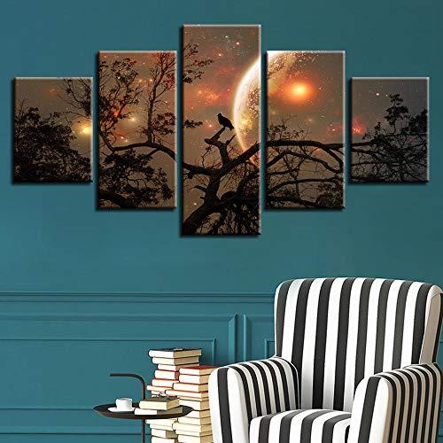 WODES Hd Dekorative Wohnzimmer Wand Nach Hause 5 Stück Baum Vogel Mond Nacht Malerei Leinwand Kunst Modulares Plakat 30 * 40 * 2 30 * 60 * 2 30 * 80Cm Kein Rahmen -