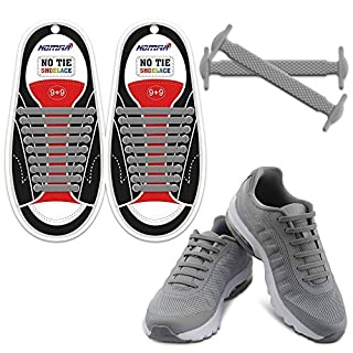 Homar Waterproof Athletic Shoelaces - Best in Alternative Shoelaces - Rubber Flat Shoe Laces No Tie Shoelace Replacement for Adults - Grey