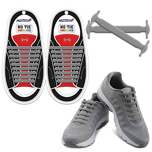 Homar No Tie Lacci per scarpe per bambini e adulti - Impermeabile in silicone elastico piatto Laces Athletic scarpa da corsa con multicolore per Scarpe Sneakerboots bordo e scarpe casual (Adult Size Gray)