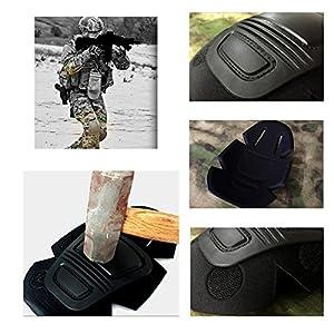 QHIU Protecteurs de Genou Protège-coude Tactique L'armée Militaire Équipement de sécurité Camouflage pour Airsoft Paintball Sports de Plein air Homme Femme Unisex