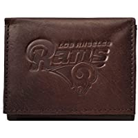 Los Angeles LA Rams NFL Embossed Logo Dark Brown Leather Trifold Wallet by Rico