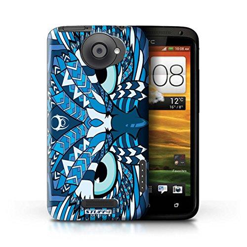 Kobalt® Imprimé Etui / Coque pour HTC One X / Singe-Pourpre conception / Série Motif Animaux Aztec Hibou-Bleu