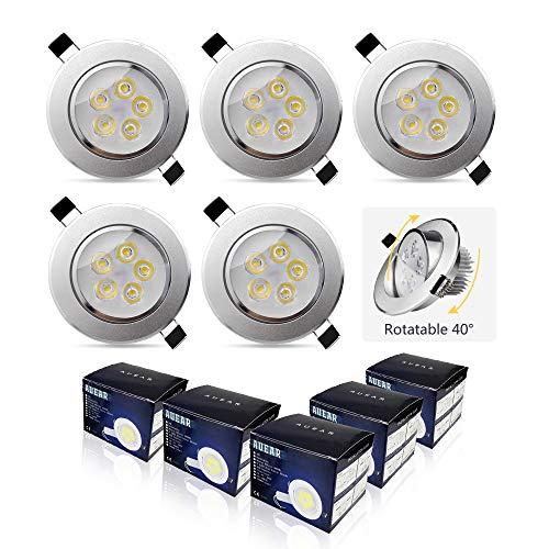 5w Luz de Techo LED Focos Empotrables Redondo Downlight Aluminio IP20 Blanco...