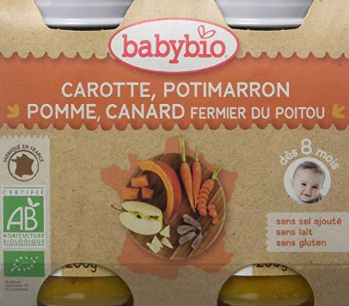 Babybio Petit Pot Carotte Potimarron Pomme/Canard Fermier du Poitou BIO 8+ Mois 2*200 g