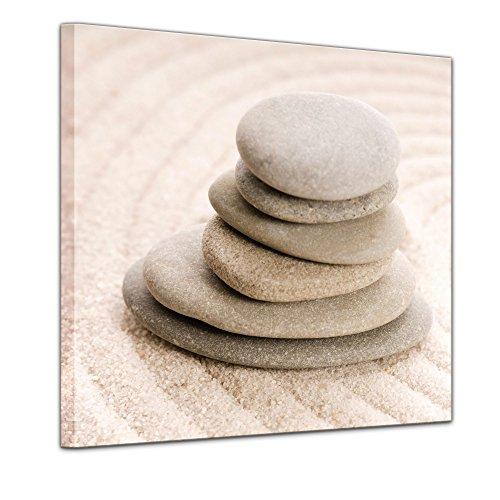 Bilderdepot24 Kunstdruck - Zen Steine VIII - Bild auf Leinwand - 40 x 40 cm - Leinwandbilder - Bilder als Leinwanddruck - Wandbild Geist & Seele - Asien - Wellness (Wellness-meditation-garten)