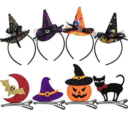 8 Stück Halloween Stirnband und Halloween Haarspange für -
